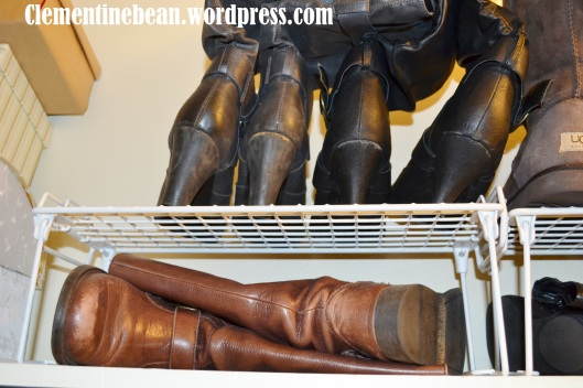 Use wire stacking shelves to create more shelf space in your closet for organizing shoes and boots. Clementinebean.wordpress.com